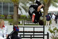 Chase performing parkour at the Bahrain F1 Grand Prix