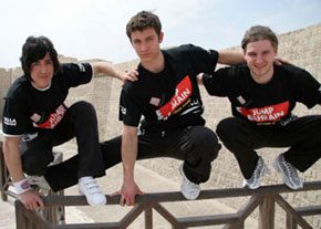 Photo of parkour and free running performers, Daniel, Chase and Jerome
